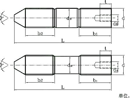 带孔锥端双头栓(专用地脚螺栓) DIN 797 - 2005