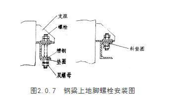 钢粱上地脚螺栓安装图